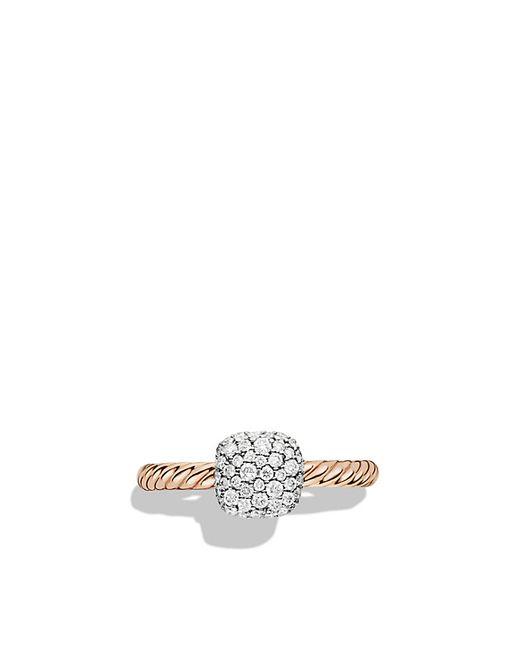 David Yurman | Pink Petite Pavé Ring With Diamonds In Rose Gold | Lyst