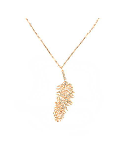 Azendi | Metallic Rose Gold Vermeil Feather Necklace With Pavé | Lyst