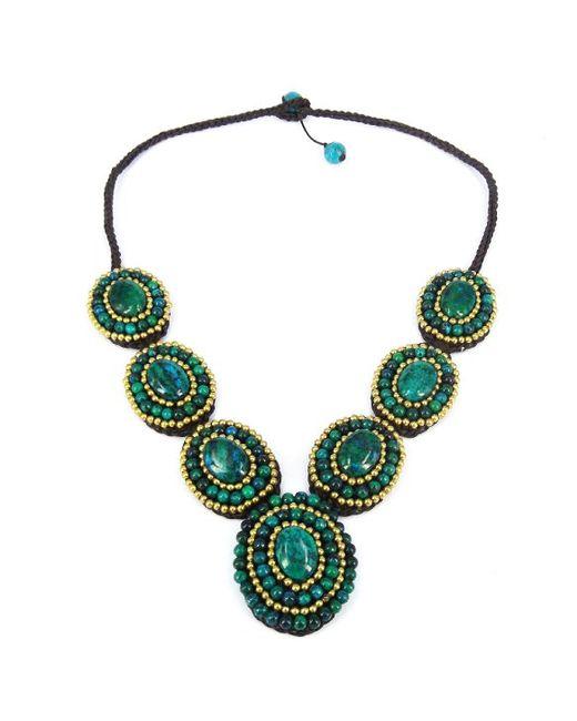 Aeravida | Green Mosaic Circles Malachite Stones Statement Necklace | Lyst