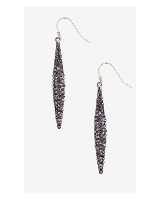 Express   Metallic Pave Embellished Oblong Drop Earrings   Lyst