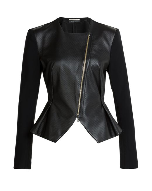 Roland Mouret | Lycosa Perforated Leather Jacket - Black | Lyst