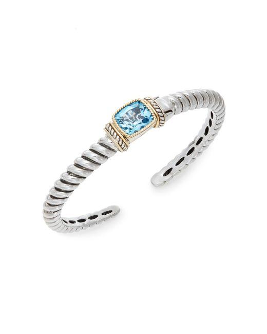 Effy | 925 Blue Topaz, Sterling Silver & 18k Yellow Gold Bracelet | Lyst
