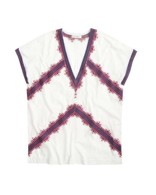 J.Crew | White Embroidered Tunic T-shirt | Lyst