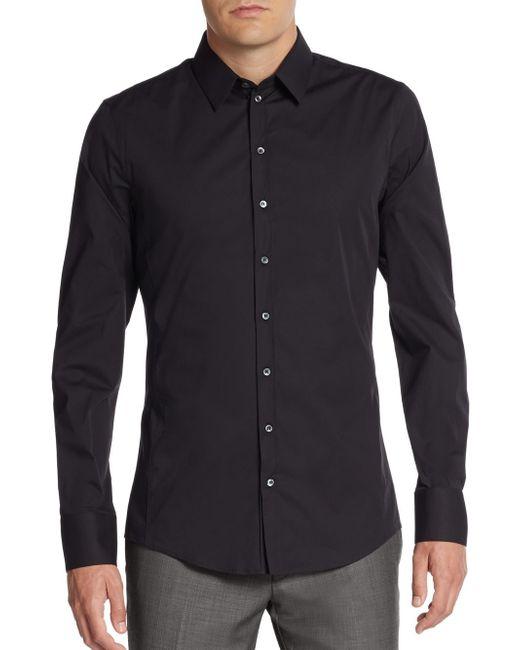 Dolce & Gabbana | Black Regular-fit Stretch-cotton Sportshirt for Men | Lyst
