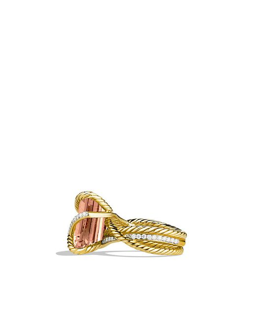 David Yurman | Yellow Cable Wrap Ring With Morganite And Diamonds In 18k Gold | Lyst