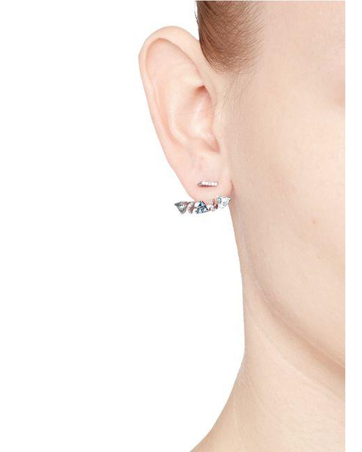 Phyne By Paige Novick | Blue 'marta' 18k Gold Diamond Pavé Aquamarine Single Earring | Lyst