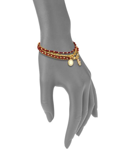 Astley Clarke | Metallic Biography Hamsa In Safe Hands White Sapphire, Red Agate & Carnelian Silken Beaded Charm Bracelet | Lyst
