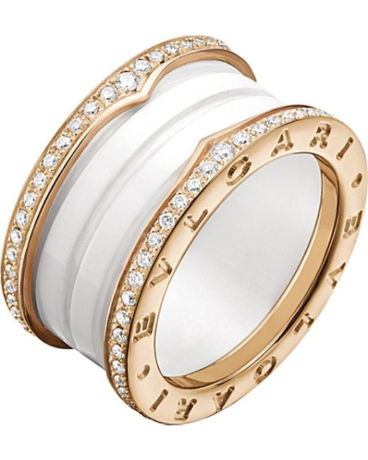 BVLGARI | Metallic B.zero1 Four-band 18kt Pink-gold White Ceramic And Diamond Ring | Lyst