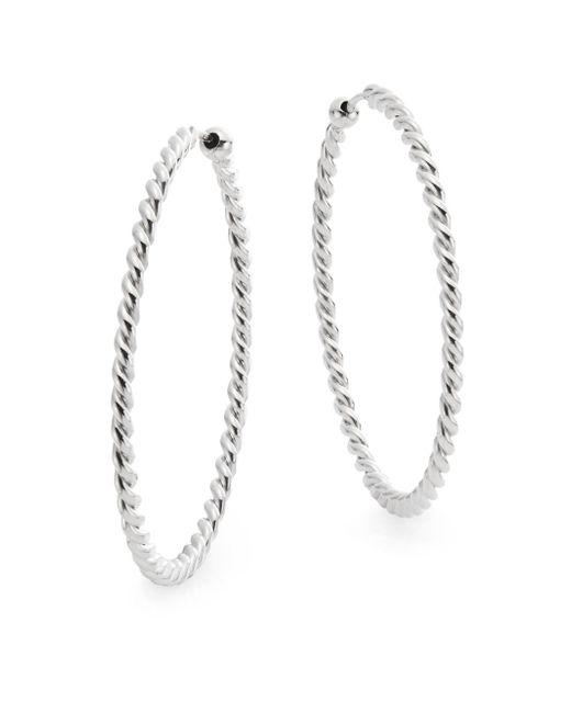 "Saks Fifth Avenue | Metallic Sterling Silver Twist Hoop Earrings/1.5"" | Lyst"