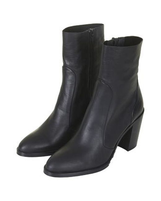 topshop magnificent leather sock boots in black lyst
