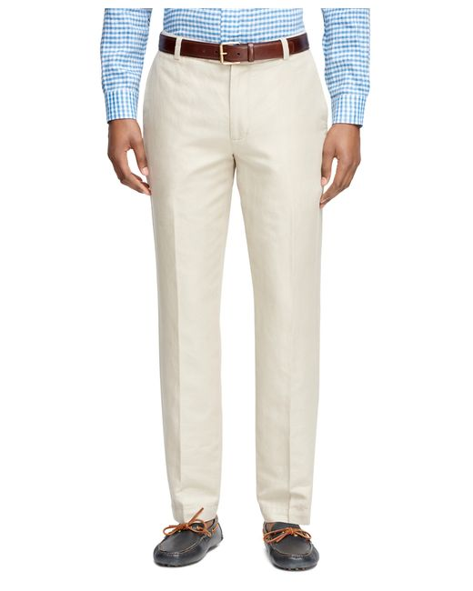 Brooks Brothers | Natural Milano Fit Linen And Cotton Pants for Men | Lyst