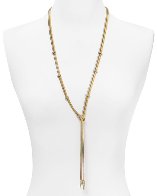 ABS By Allen Schwartz | Metallic Gold-tone Multi-chain And Crystal Station Long Necklace | Lyst