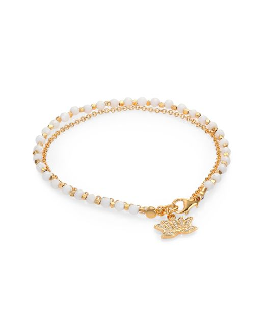 Astley Clarke | 'Lotus' 18K Gold White Agate Friendship Bracelet - Peace & Truth | Lyst