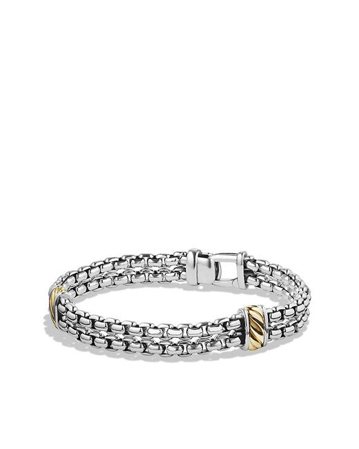 David Yurman | Metallic Cable Classic Two-row Chain Bracelet With 18k Gold for Men | Lyst