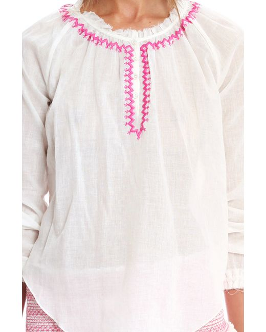 Loveshackfancy bali embroidered peasant top in white lyst