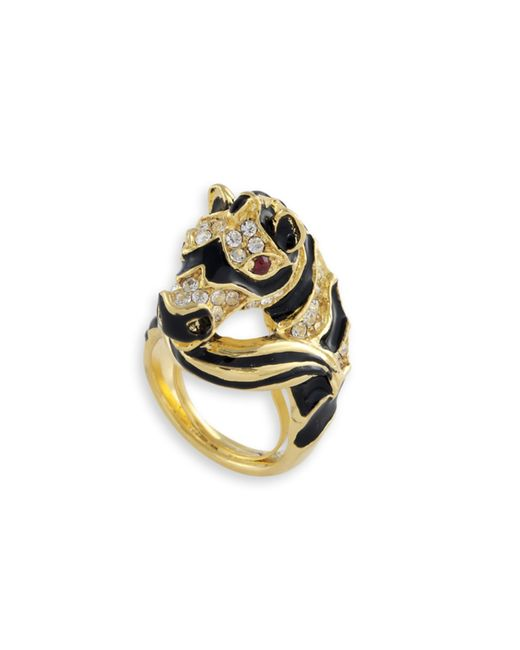 Kenneth Jay Lane | Metallic Black Zebra Head Ring | Lyst