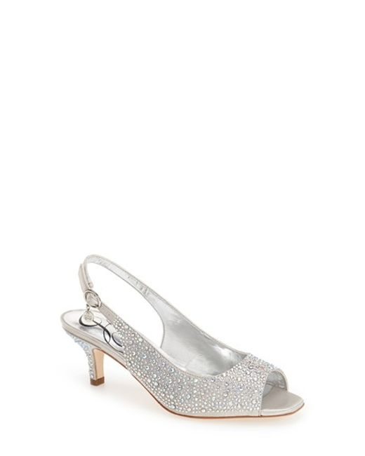 J. Reneé | Metallic 'impuls' Crystal Embellished Slingback Pump | Lyst