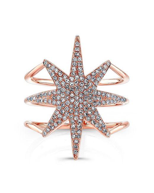 Anne Sisteron | Metallic 14kt Rose Gold Diamond Star Ring | Lyst