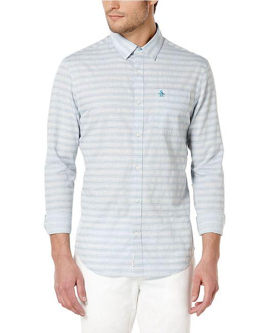 Original penguin slim fit horizontal stripe sportshirt in for Horizontal striped dress shirts men