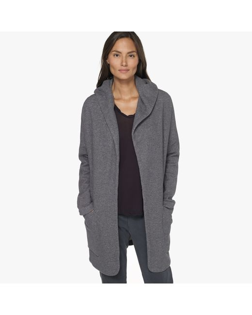 James Perse | Gray French Terry Hoodie Coat | Lyst