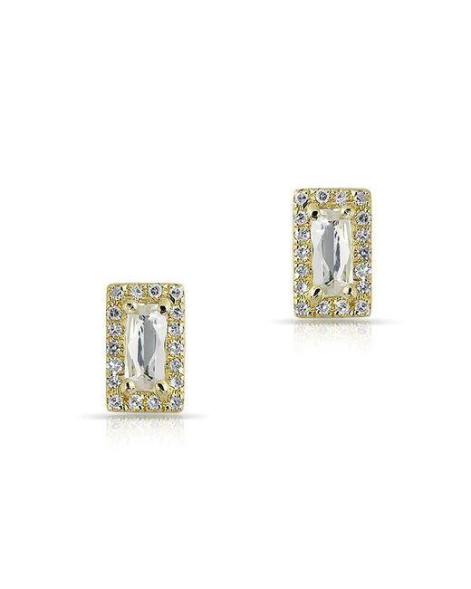 Anne Sisteron - Metallic 14kt Yellow Gold White Topaz Diamond Mini Rectangle Stud Earrings - Lyst
