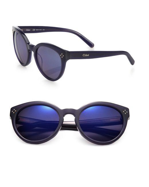 Chloé | Blue Boxwood Retro 54mm Round Sunglasses | Lyst