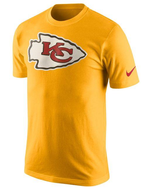 Nike men 39 s kansas city chiefs mesh logo t shirt in yellow for Kansas city chiefs tee shirts