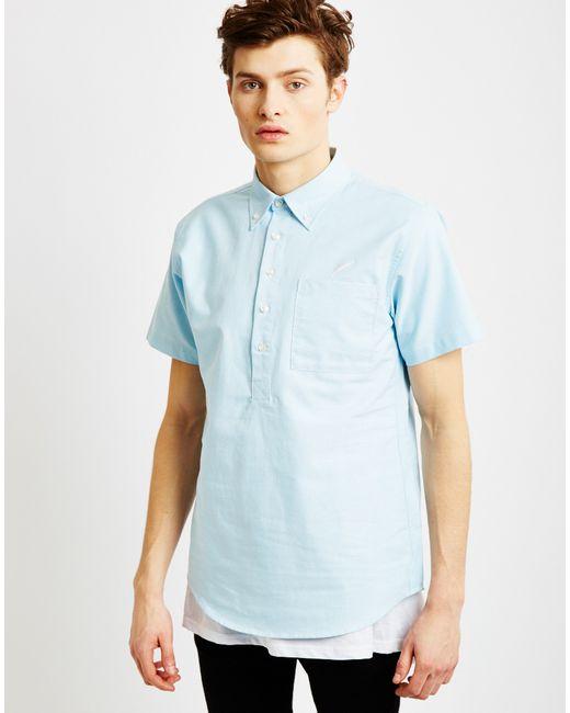 Publish theodore short sleeve shirt light blue in blue for for Light blue short sleeve shirt mens