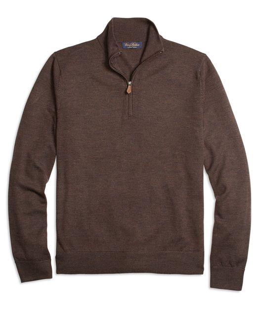 Brooks Brothers | Brown Saxxon Wool Half-zip Sweater for Men | Lyst