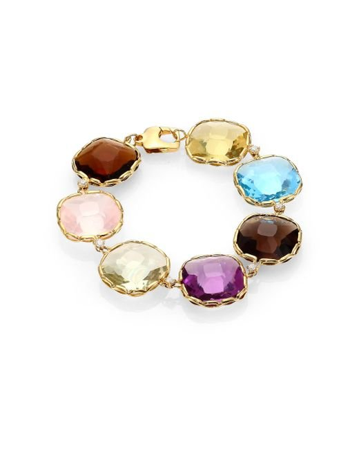 Roberto Coin | Ipanema Multicolor Quartz, Diamond & 18k Yellow Gold Bracelet | Lyst