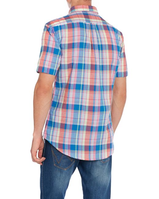 Farah | Blue Wylam Slim Fit Short Sleeve Check Shirt for Men | Lyst