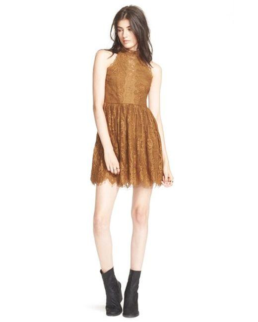 Free People | Brown 'verushka' Minidress | Lyst