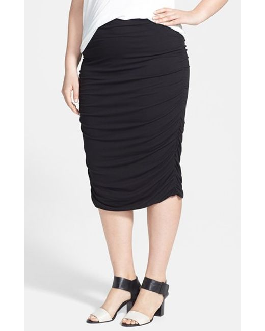 vince camuto ruched stretch knit midi skirt in black lyst