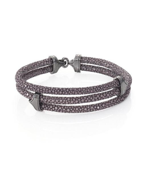 Stinghd | Blackened Silver & Stingray Triangle Wrap Bracelet for Men | Lyst