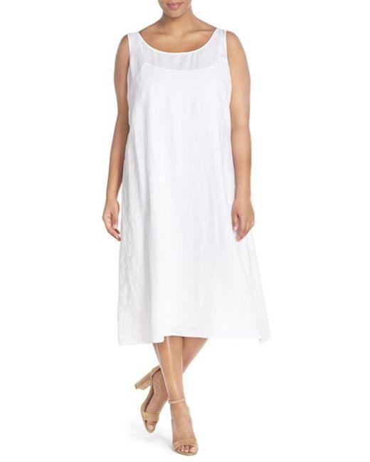 Eileen Fisher Handkerchief Linen Calf Length Tank Dress In
