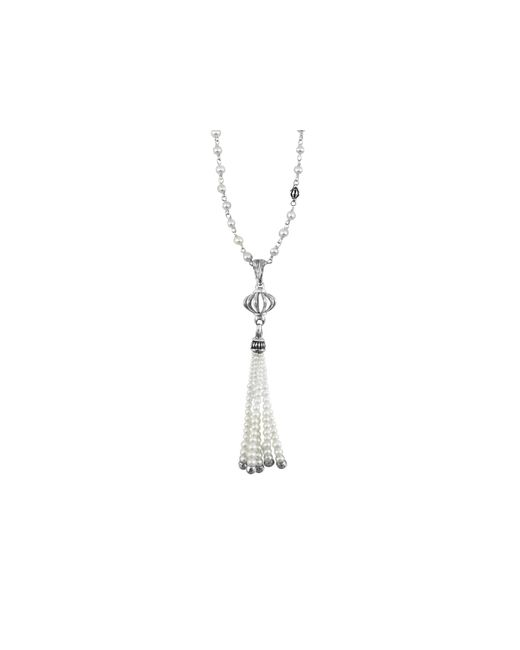 "Lagos | Metallic Sterling Silver Luna Pearl Tassel Pendant Necklace, 36"" | Lyst"