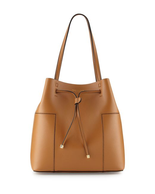 Tory Burch Block T Leather Bucket Tote Bag In Brown