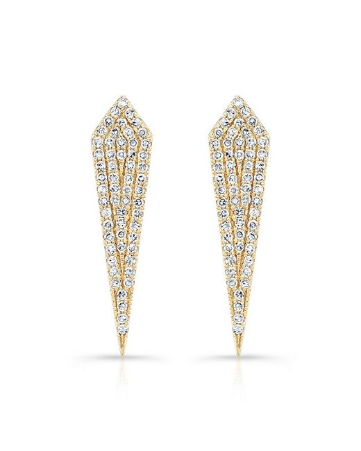Anne Sisteron | Metallic 14kt Yellow Gold Diamond Mini Spear Earrings | Lyst