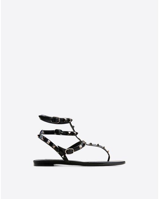 Valentino | Black Rockstud Noir Flat Thong Sandal | Lyst
