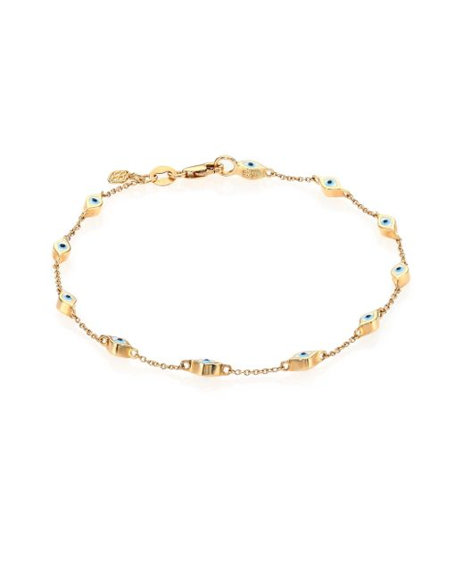 Sydney Evan | Metallic Enamel & 14k Yellow Gold Mini Evil Eye Station Bracelet | Lyst