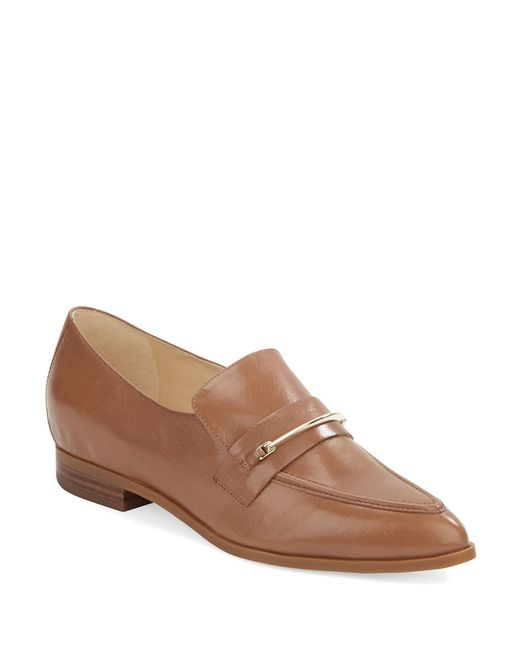 Nine West | Brown Oxidize Leather Loafers | Lyst