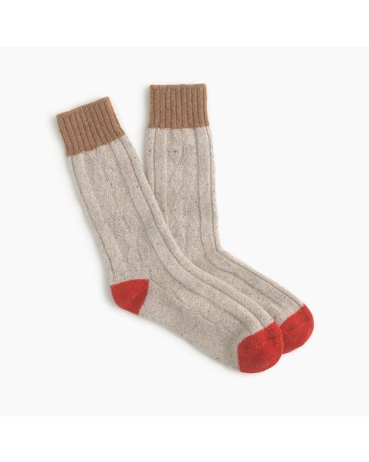 J.Crew | Natural Donegal Wool-blend Cable Knit Socks for Men | Lyst