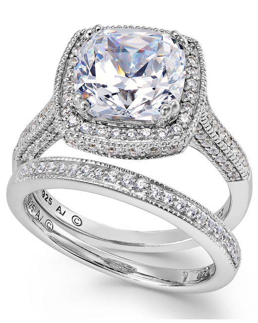 Arabella | Metallic Sterling Silver Ring Set, Swarovski Zirconia Bridal Ring And Band Set (7-5/8 Ct. T.w.) | Lyst