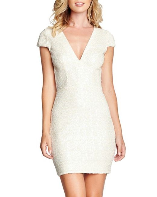 Dress the Population | White Sequin Body-con Dress | Lyst