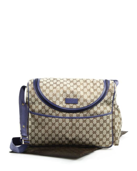 gucci gg supreme canvas diaper bag in beige beige blue lyst. Black Bedroom Furniture Sets. Home Design Ideas