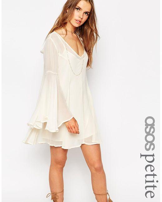 ASOS   Natural Boho Swing Dress With V Neck   Lyst