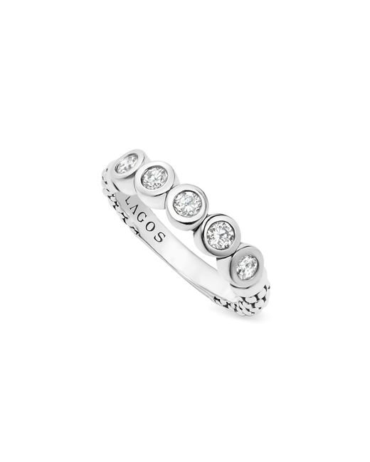 Lagos | White Sterling Silver Five Diamond Stacking Ring | Lyst