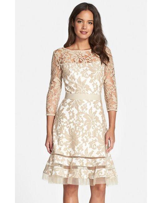 Tadashi Shoji | Natural Lace Overlay Dress | Lyst