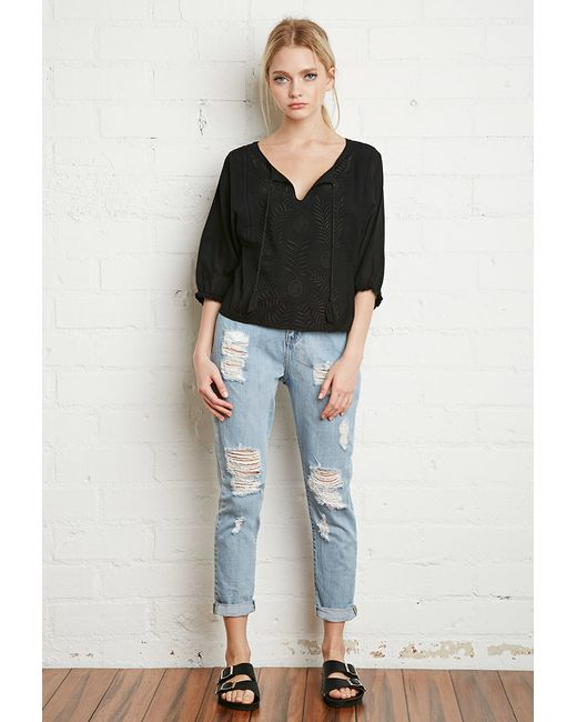 Forever 21 | Black Floral-embroidered Peasant Top | Lyst