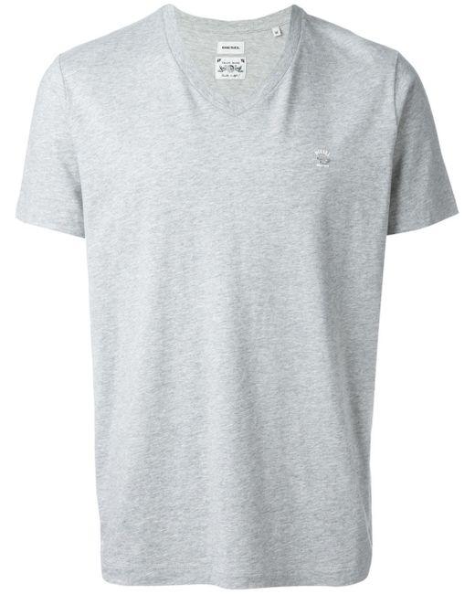 Diesel v neck t shirt in gray for men grey lyst for Mens diesel v neck t shirts